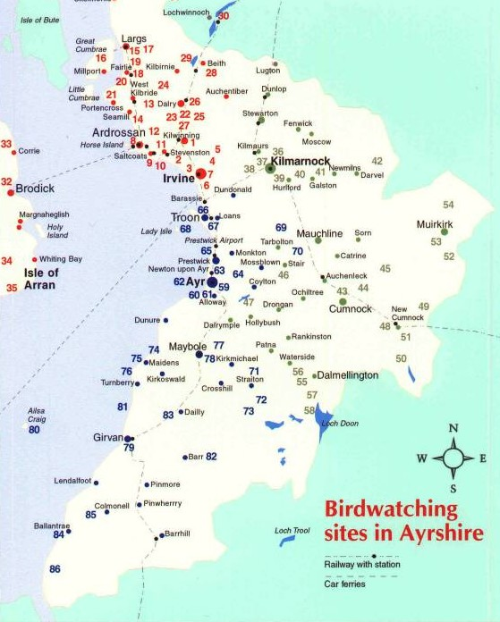 Map Of Ayrshire Birding Map | Ayrshire Birding