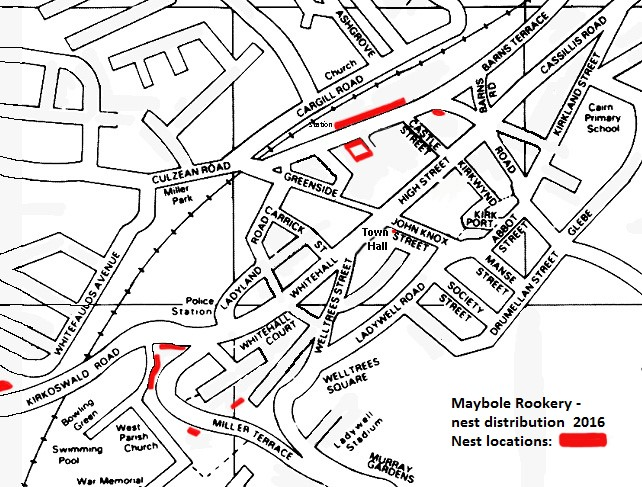 Map of Rookeries in Maybole